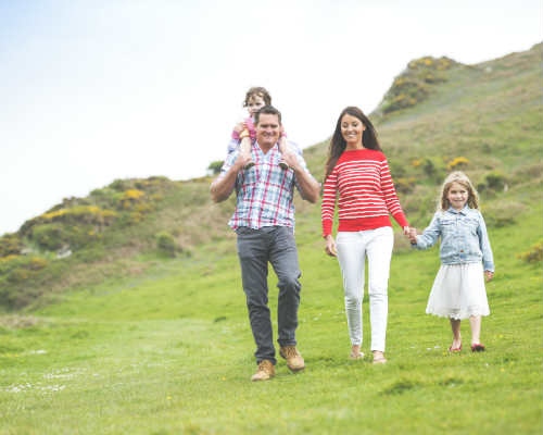 Family Hotel Devon. Family walk the grounds of Soar Mill